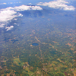 Aerial view of Dolores, with Mount Banahaw in background