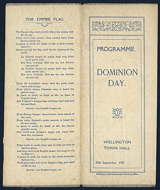Dominion of New Zealand - Image: Dominion Day. Wellington Town Hall, 26th September 1907. Programme. (Cover of silk programme). (21118908600)