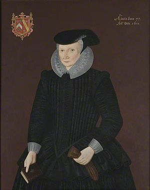 Dorothy Wadham - Portrait of Dorothy Wadham, aged 77 in 1611, with arms of Wadham impaling Petre. By unknown artist, collection of Wadham College, Oxford