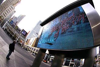 "Yonge-Dundas Square - Yonge-Dundas Square L.E.D. pixelboard showing ""The Heart of the City"" on Dundas Square logo."