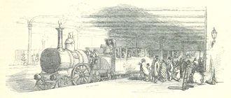 Eastern Counties Railway - Eastern Counties Railway train, probably at Bishopsgate c1851