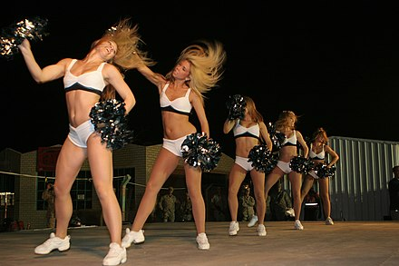Eagles' cheerleaders doing a routine in 2008. Eagles-Cheerleaders-Unison-June-7-08.JPG