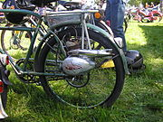 Early moped, a bicycle with a helper motor on the rear hub.