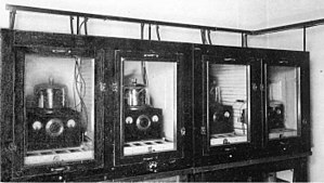Crystal oven - Some of the earliest crystal ovens.  These precision 100 kHz oven controlled crystal oscillators at the US Bureau of Standards (now NIST) served as the frequency standard for the United States in 1929.