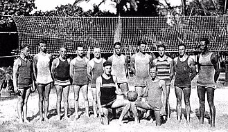 Beach volleyball - Beach volleyball players at the Outrigger Canoe Club in Hawaii, ca. 1915