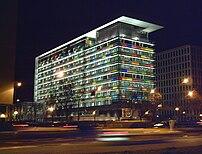 Night view of the Spanish National Statistics Institute headquarters, at 183 Paseo de la Castellana (avenue) in Madrid.