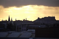 Skyline of Edinburgh during sunrise taken in 2010.
