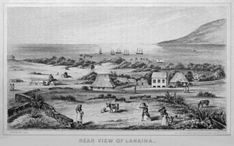 William Pūnohu White - A view of the port city of Lahaina, Maui, during William White's childhood. Engraving by Edward T. Perkins, 1854.