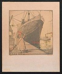 Een kleine en grote boot bij de kade
