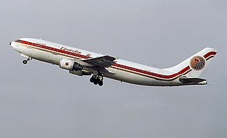 EgyptAir - An EgyptAir Airbus A300B4-600R departs Düsseldorf International Airport in 1997.