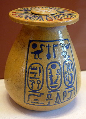 Amenhotep III - Vase in the Louvre with the names Amenohotep III and Tiye written in the cartouches on the left, (and Tiye's on the right).