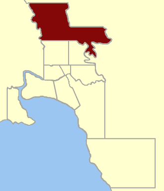 Electoral district of East Bourke Boroughs - Location within Greater Melbourne area, 1859