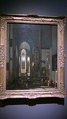 Vue d'une église imaginaire avec des moines