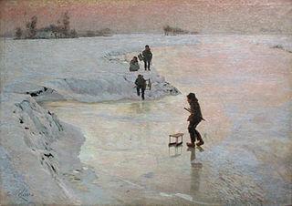 Enfants jouant sur la glace