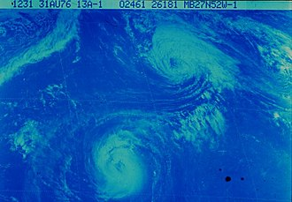 1976 Atlantic hurricane season - The Fujiwhara interaction between hurricanes Emmy and Frances on August 31
