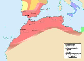 The Almohad empire at its greatest extent, c. 1180-1212 Empire almohade.PNG