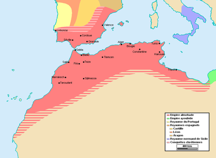 The Berber Almohad Caliphate at its greatest extent, c. 1212 Empire almohade.PNG