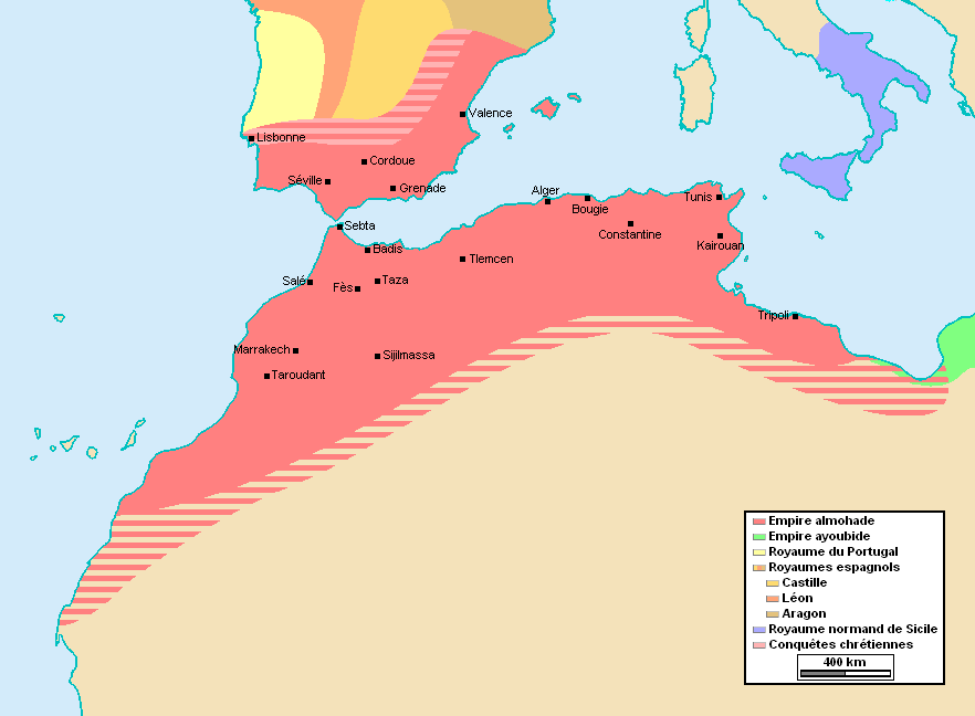 The Almohad empire at its greatest extent, c. 1180–1212[1][2]