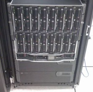 Blade server - HP BladeSystem c7000 enclosure (populated with 16 blades), with two 3U UPS units below