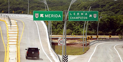 Section of the Periferico Pablo Garcia y Montilla which traverses the limits of Campeche City. Entrega de la ampliacion y modernizacion del Periferico Pablo Garcia y Montilla. (21612616943).jpg