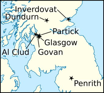 Locations relating to the life and times of Eochaid. Eochaid, son of Rhun (map1).png