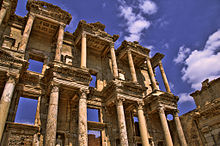 The roof of the Library of Celsus has collapsed, but its large façade is still intact.