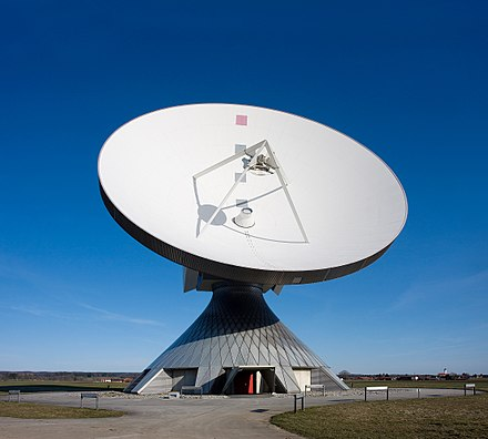 Satellite dishes are a crucial component in the analysis of satellite information. Erdfunkstelle Raisting 2a.jpg