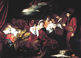 The birth of Esau and Jacob, as painted by Benjamin West Esau and Jacob Presented to Isaac.jpg