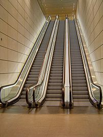 Escalators at Canary Wharf, London.