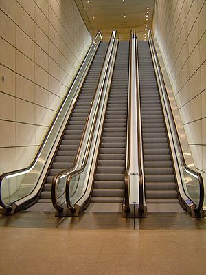 Passengers per hour per direction - Three parallel escalators; the direction of the middle escalator can be changed to double capacity in one direction (↑↑↓ or ↑↓↓).