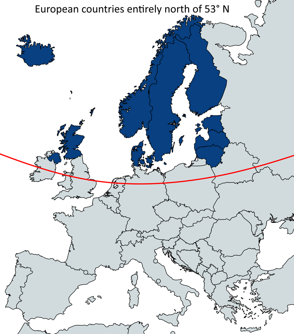European countries entirely north of 53° N