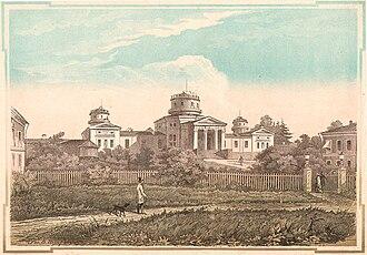 Pulkovo Observatory - Pulkovo Observatory in 1855. Ev. Bernardsky (1819-1889); Col. Woodcut