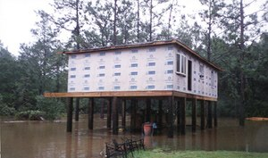 Hurricane Danny (1997) - A house in Baldwin County, Alabama being rebuilt on pilings after flooding caused by Danny
