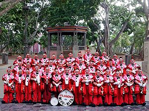 Large group of musicians in red clown costumes, in front of a gazebo