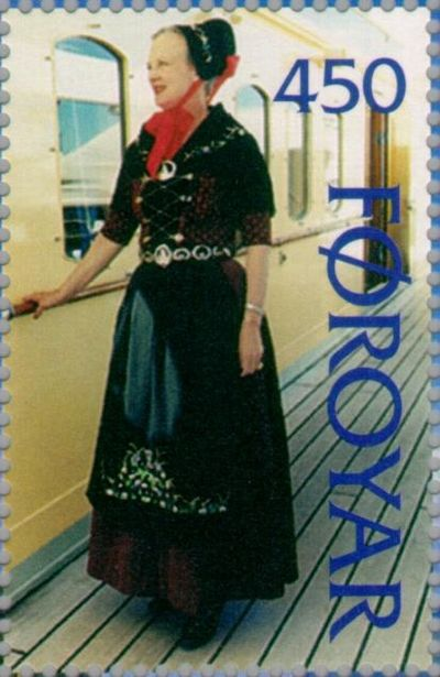 Margrethe II of Denmark in a costume of the Faroese people. Stamp FR 302 of Postverk Foroya, Faroe Islands, issued 14 January 1997. Faroe stamp 302 Queen Margrethe.jpg