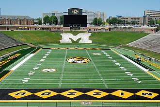 Faurot Field - End zone view of the redesigned FieldTurf surface for the 2012 season.
