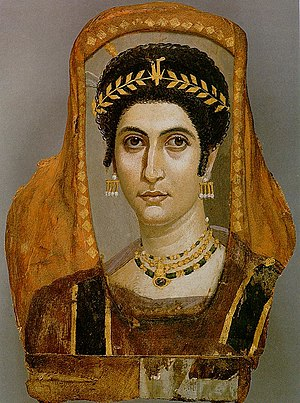 Tiara -  This Fayum mummy portrait shows a woman wearing a golden wreath, c. AD 100-110.