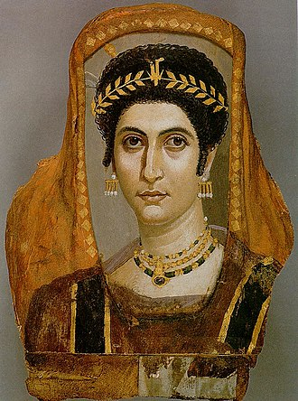 Tiara - This Fayum mummy portrait shows a woman wearing a golden wreath, c. AD 100–110.