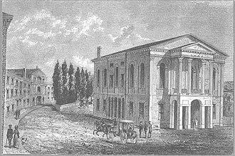 Franklin Street (Boston) - Image: Federal Street Theatre Boston ca 1798