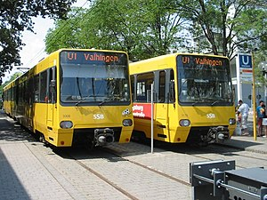 Stuttgart Stadtbahn - Stadtbahn cars at the terminus of line U1