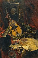 Still Life with Musical Instruments and a Portrait of Richard Wagner