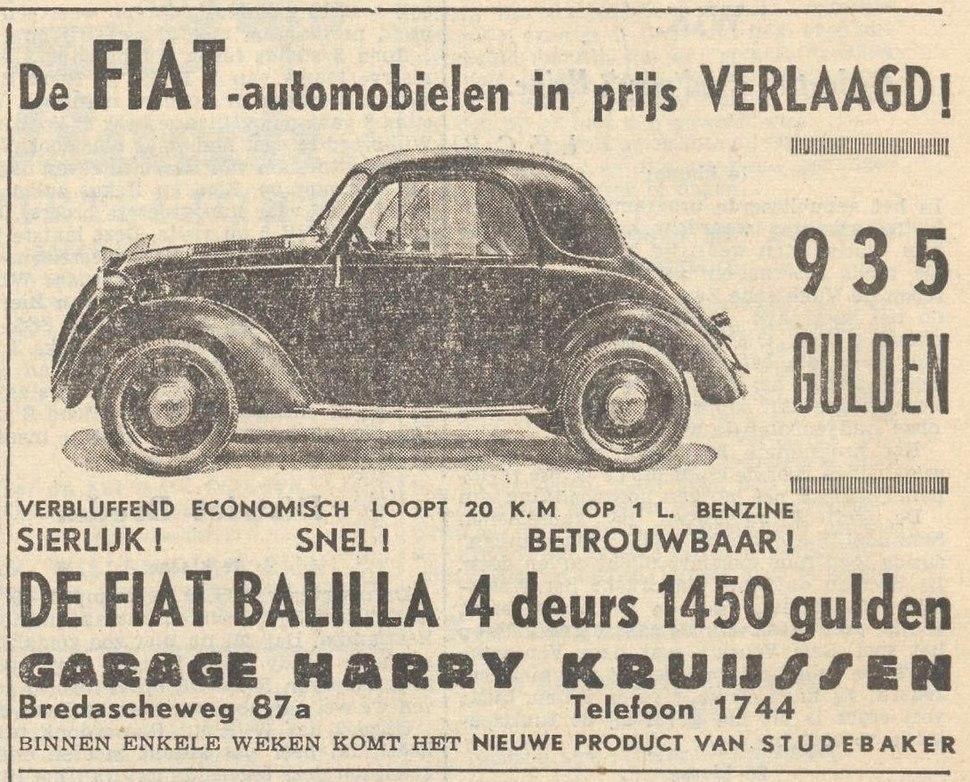 Fiat 508 Balilla, advertisement, 1939, Netherlands