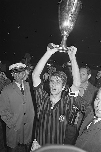 Gianni Rivera - Rivera lifting the Cup Winners' Cup in 1968.
