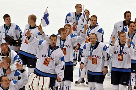 Finland's men's national ice hockey team is ranked as one of the best in the world. The team has won three world championship titles (in 1995, 2011 and 2019) and six Olympic medals. Finlandbronzecelebration2010WinterOlympics.jpg