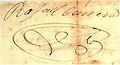 Firma de Rafael Carrera. Museo Nacional de Historia.jpg