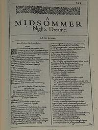 Faksimiler af første side i A Midsommer Nights Dreame fra First Folio, publiceret i 1623