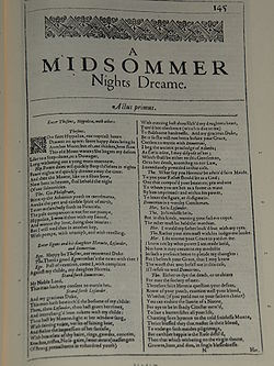 Facsimile of the first page of A Midsummer Night's Dream from the First Folio, published in 1623.
