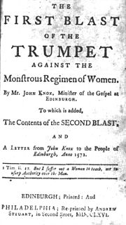 <i>The First Blast of the Trumpet Against the Monstruous Regiment of Women</i> book by John Knox