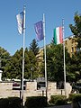 Flagpoles, Köztársaság Square,, 2017 Hajdúnánás.jpg