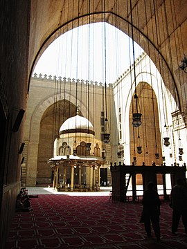 The courtyard of the                               Sultan Hassan mosque-madrasa                              .